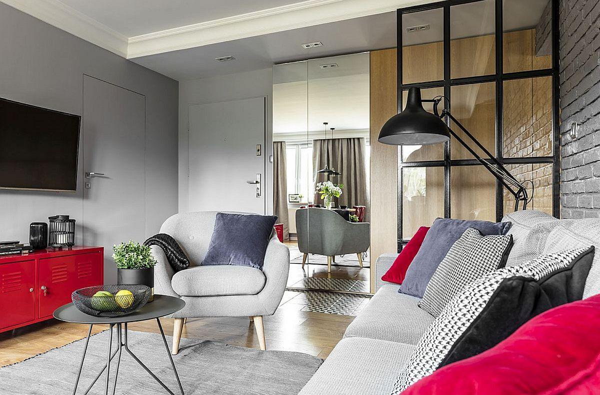 adelaparvu.com despre apartament 56 mp cu accente de rosu, design SAS Wnetrza i Kuchnie, Foto Strazynski Studio (4)