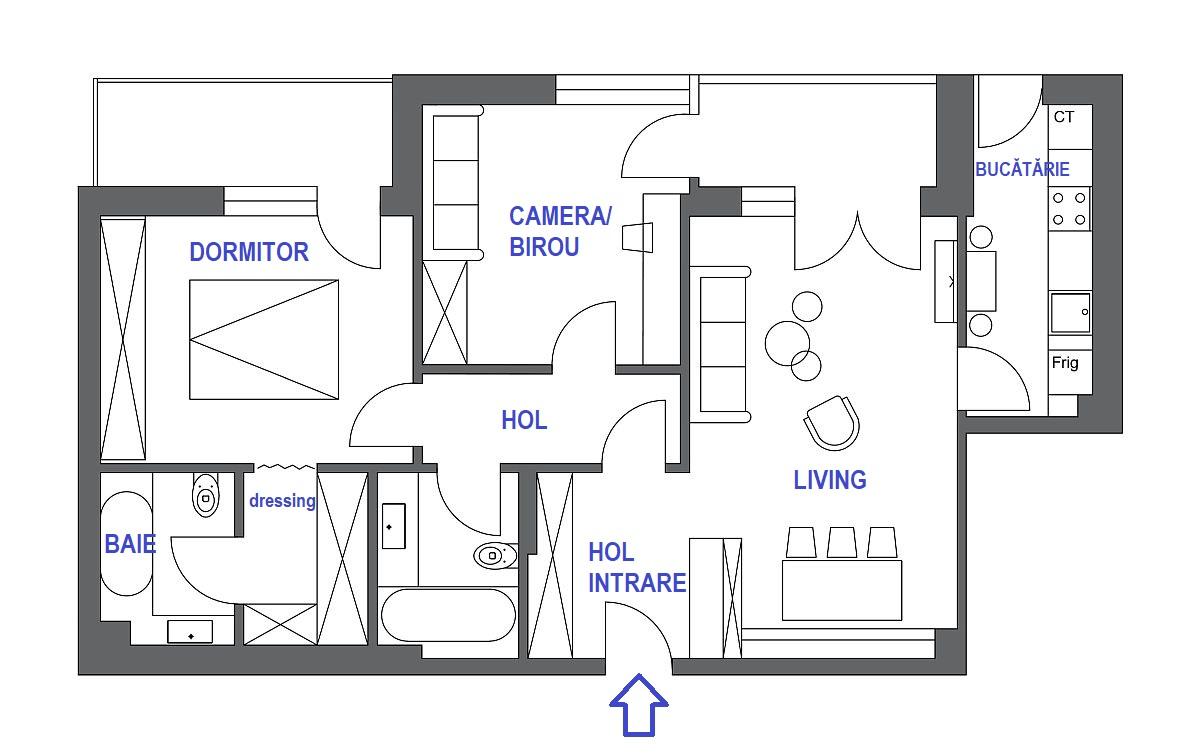 adelaparvu.com despre apartament tineresc, București, design AlderaminRo, plan