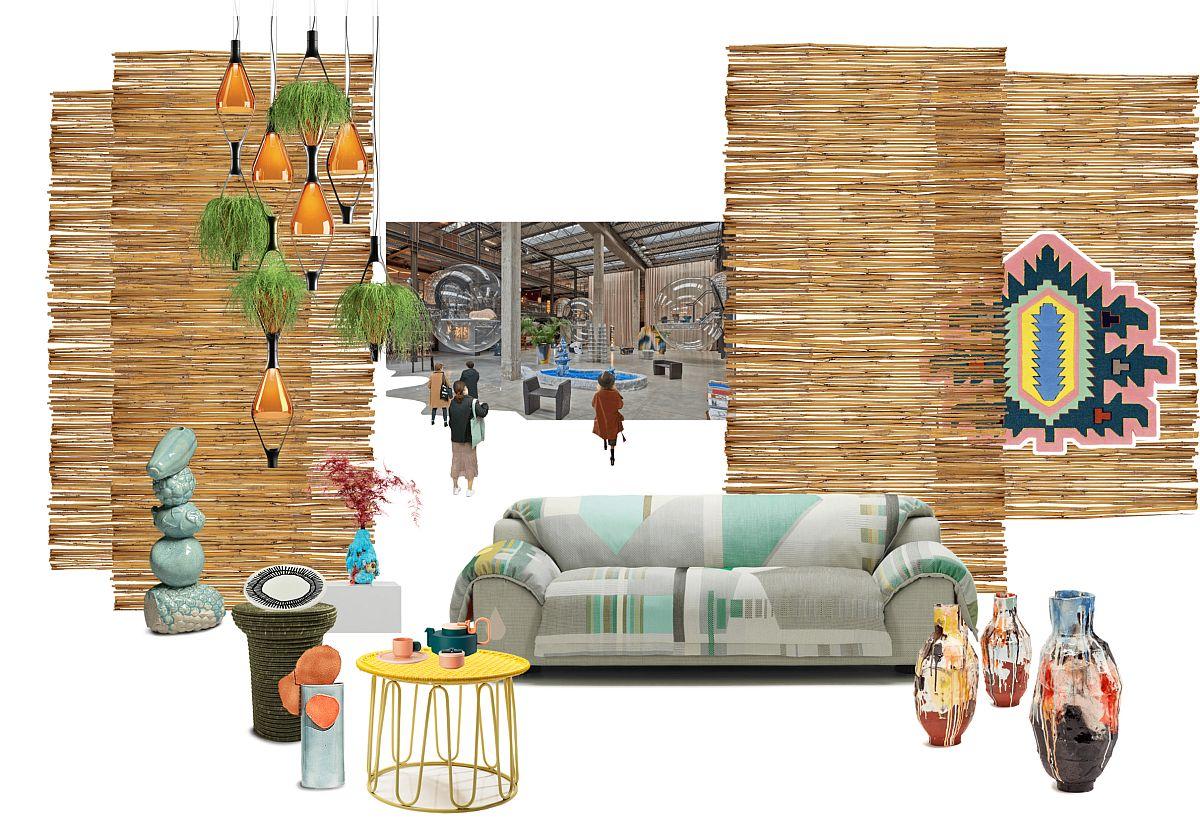 Foto mood board Ambiente. Combinație de obiecte etnice cu pise actuale, culori vibrante și texturi artizanale.