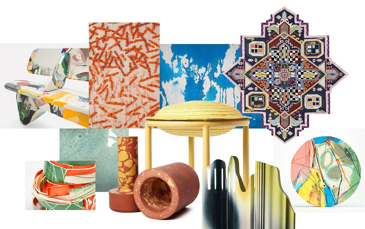Foto mood board Ambiente. Pe lângă culori, imprimeurile sunt foarte prezente, fie pe tapițerii, covoare, fie pe obiecte decorative.