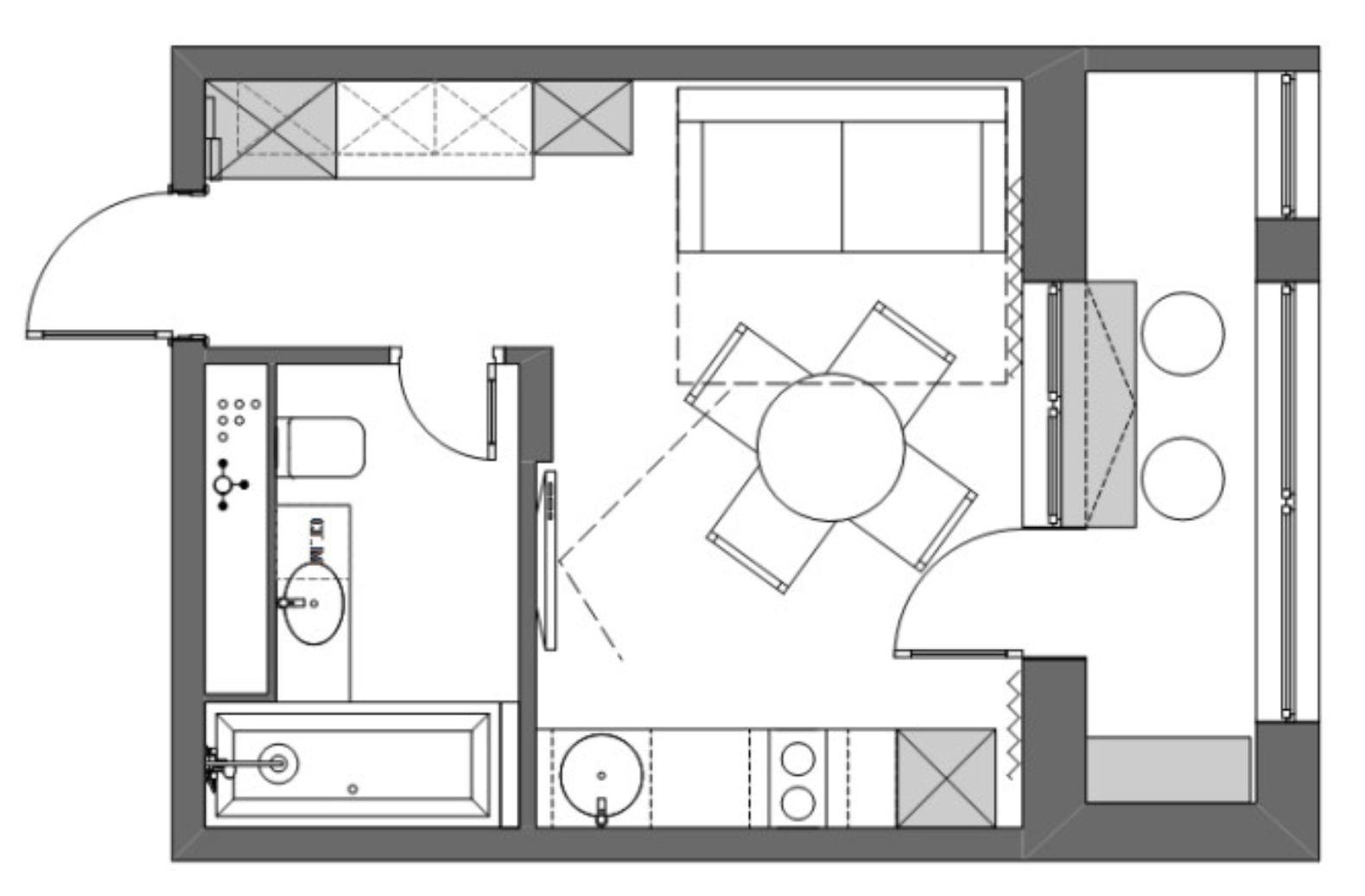 Planul garsonierei este unul clasic, suprafața totală fiind de 22 metri pătrați.