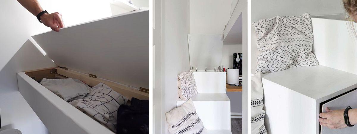 Atât la marginea patului, cât și în treptele de acces, interiorul modelelor este folosit pentru variate lucruri. Proiectul este realizat de către tineri și bricolat acasă.