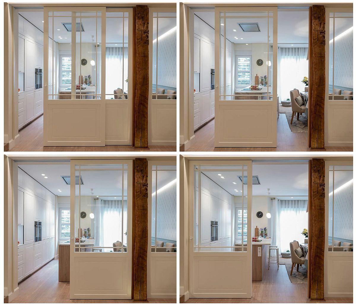 Ușile culisante au fost gândite de la designerii de la biroul Sube Interior astfel ca deschiderile să fie cât mai funcționale.