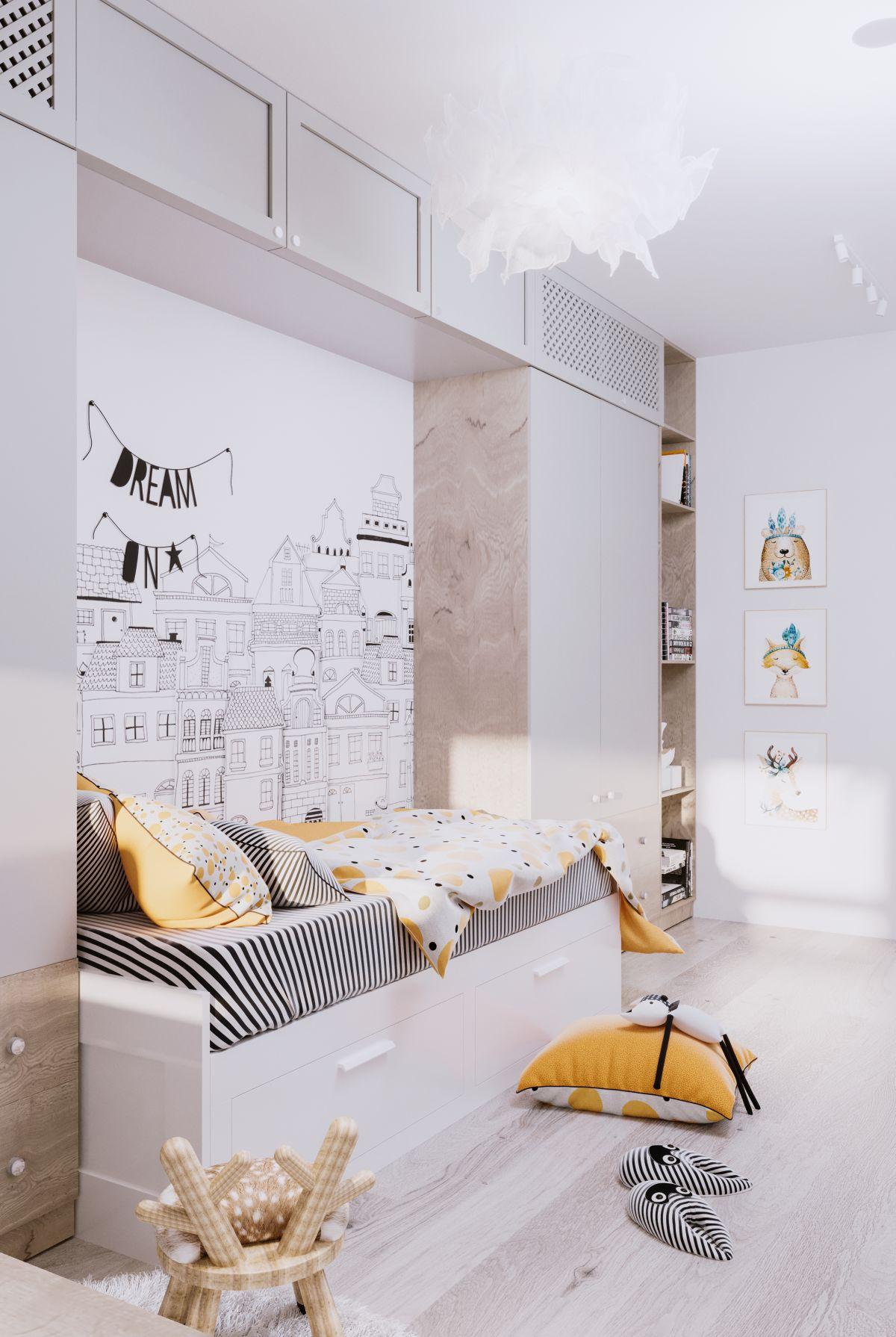 Dacă te gândești că piesele de mobilier sau pereții în nuanțe de galben ar fi prea mult pentru o cameră de tineret, poți să te gândești la mobilă cu fețe gri, tip lemn și albe, iar accentele decorative și decorațiunile textile să fie galbene. Practic, ceea ce se păstrează este în nuanțe neutre (mobila), iar ceea ce se schimbă sunt decorațiunile. Simplu, nu?