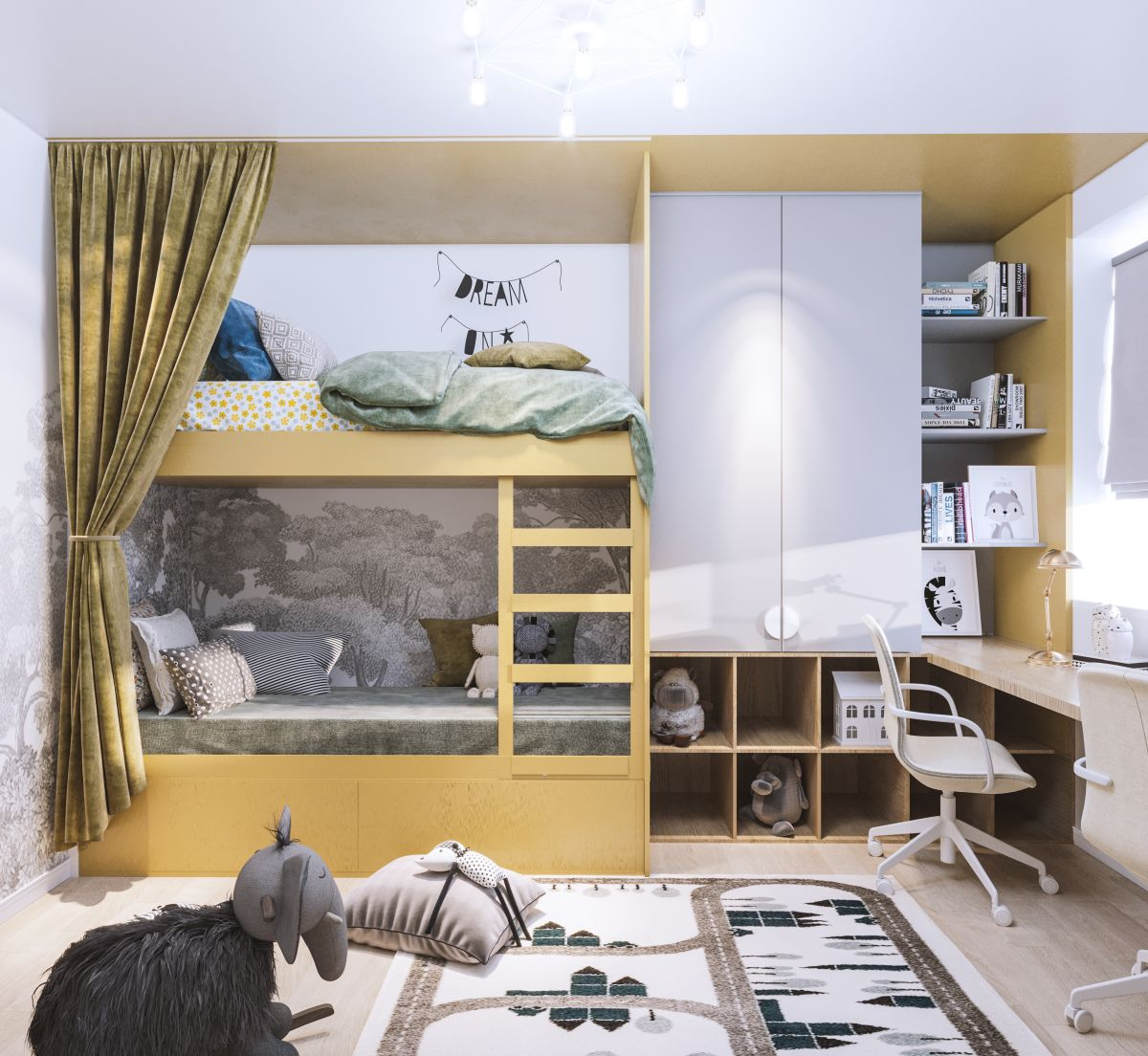 Combinație de galben gri este excelentă pentru camerele de copii.