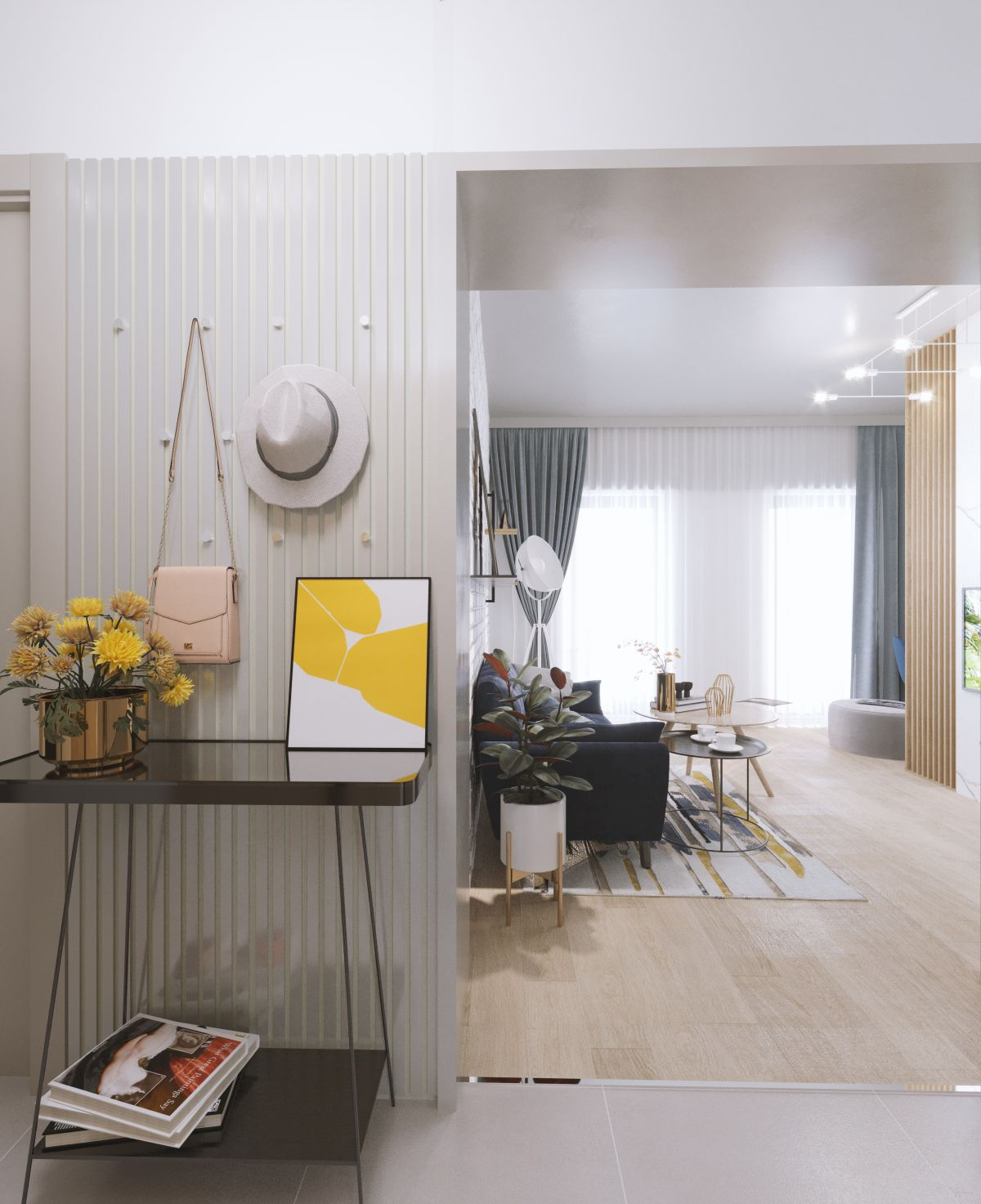 Când nu ai curaj pentru o cameră întreagă, combinația de galben gri poate fi prezentă într-un colț al casei sau de ce nu chiar pe holul de la intrare.