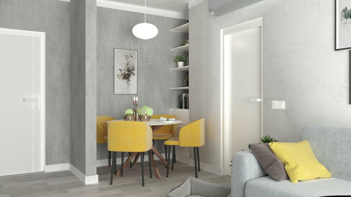 Poți avea pereții cu tencuiali decorative gri, iar ca accente de galben poți avea tapițeria scaunelor.