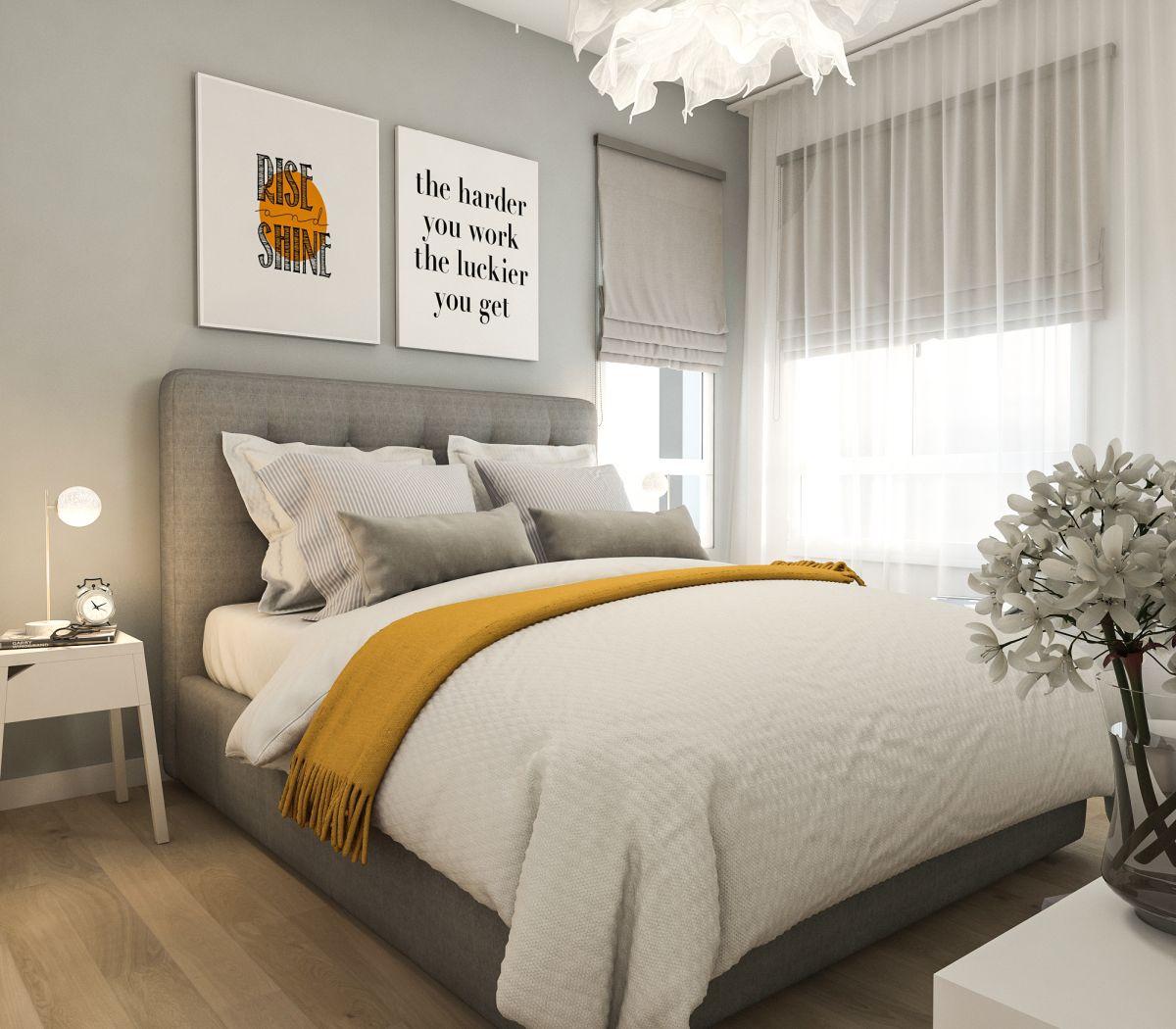 Combinația de galben gri este potrivită și în dormitor.