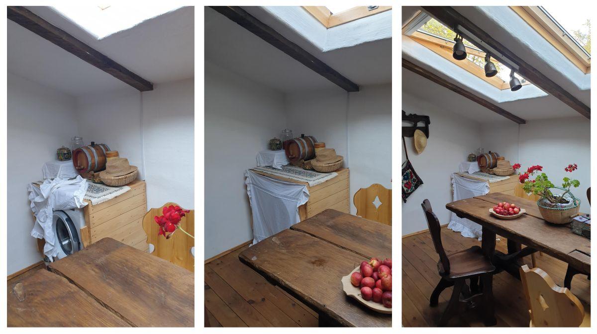 Pentru că locul electrocasnicelor nu a fost gândit foarte în detaliu dinainte, locul mașinii de spălat a rezultat în final într-un colț al actualei bucătării. Dar prin decorarea s-a reușit mascarea acestui aparat electrocasnic.