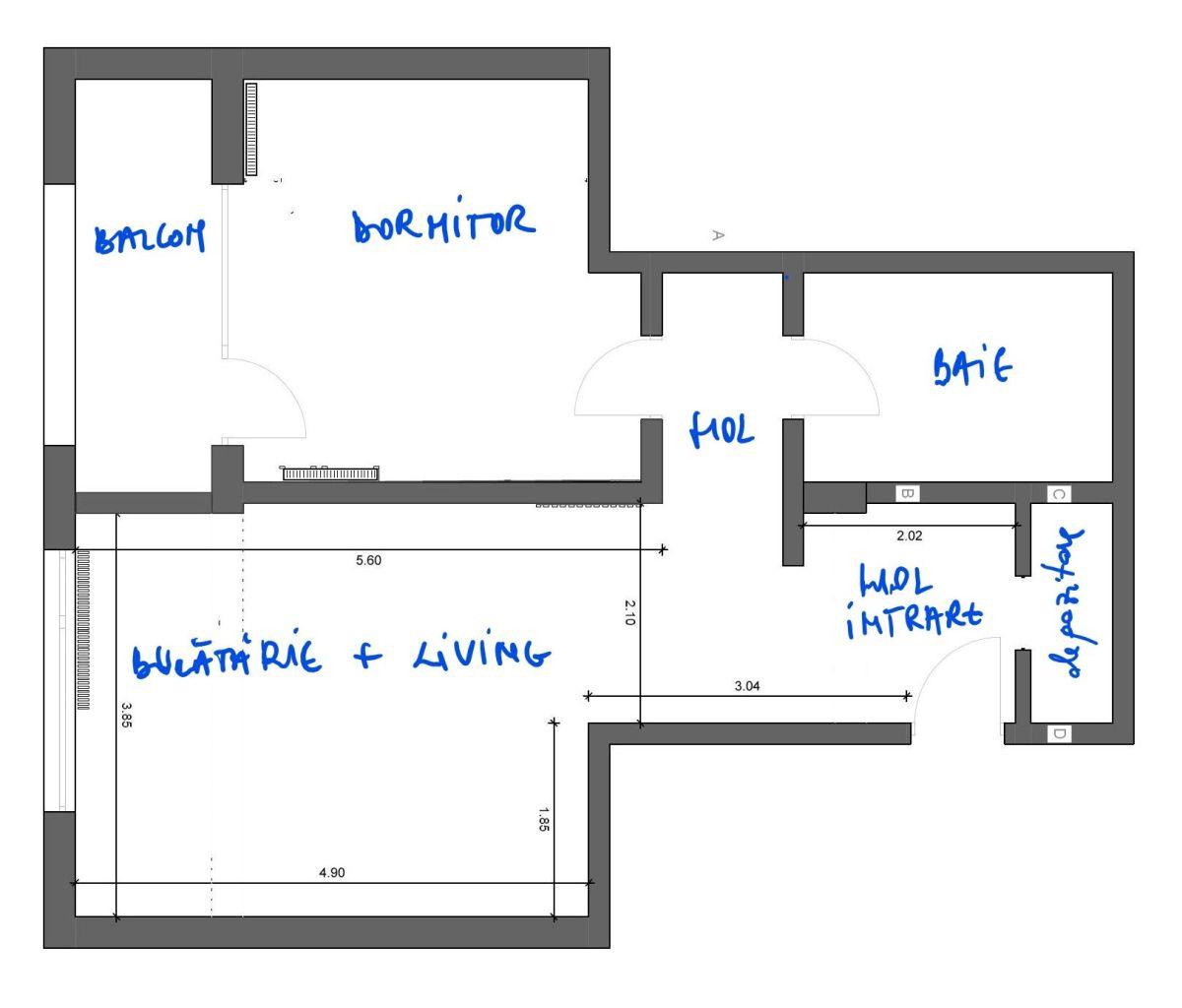 Planul locuinței de două camere,fără soluția de mobilare. Se vede compartimentarea interioară în mod clar, respectiv și faptul că livingul este în același spațiu cu bucătăria, dar și deschis către holul de la intrare..